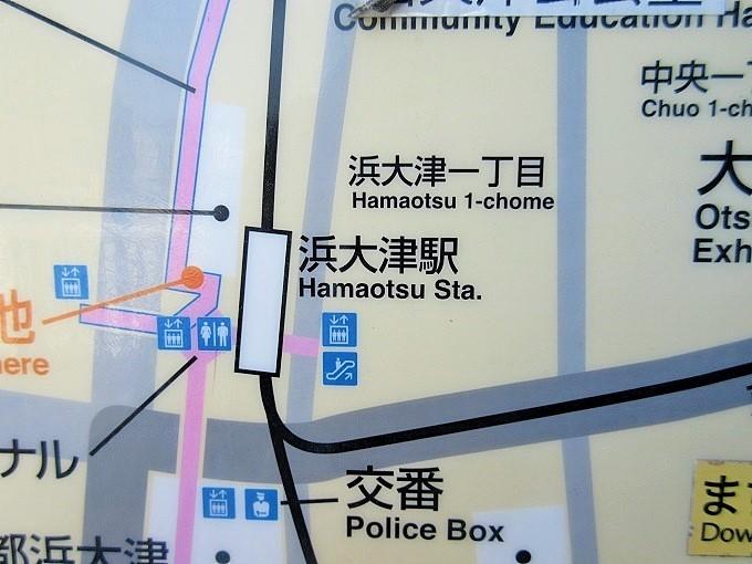案内地図の中の浜大津駅