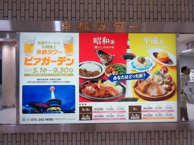 京都タワーホテルビアガーデンの看板