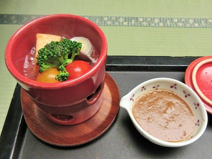 湯元舘の朝食の温野菜